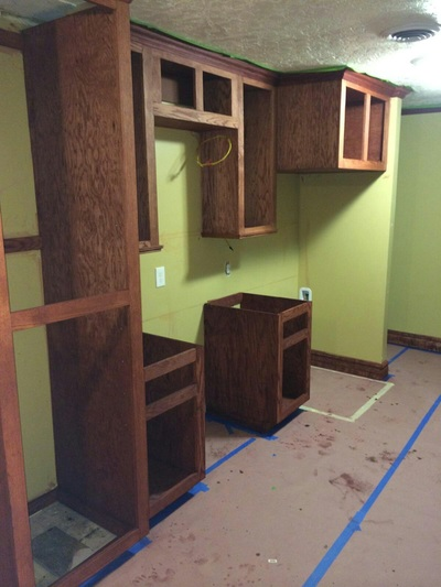 Kitchen Cabinet in Progress Green Wall