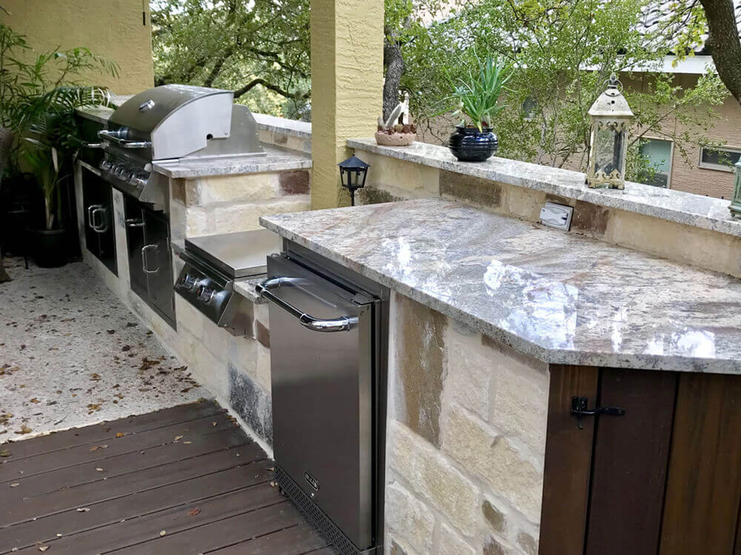 Backyard Barbecue with sink and a nice view