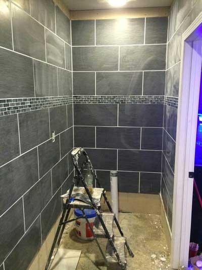 Bathroom Shower Dark Gray with Stool