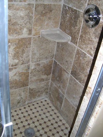 Bathroom Tile Shower with Shelf