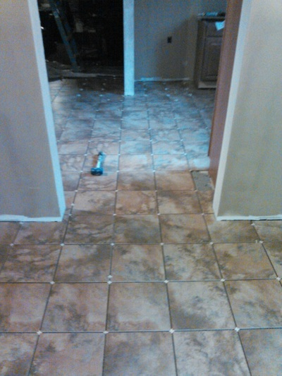 Tile Flooring in Progress